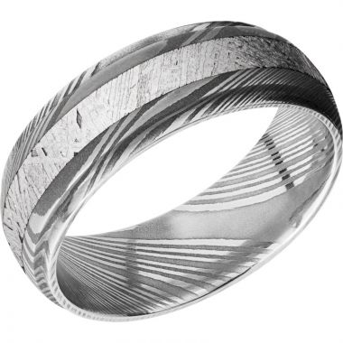 Lashbrook Black & White Damascus Steel Meteorite 7mm Men's Wedding Band
