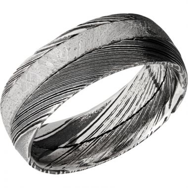Lashbrook Black & White Damascus Steel Meteorite 8mm Men's Wedding Band