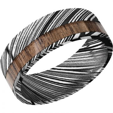 Lashbrook Black & White Damascus Steel Hardwood 8mm Men's Wedding Band