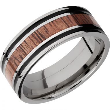 Lashbrook Titanium Hardwood 8mm Men's Wedding Band