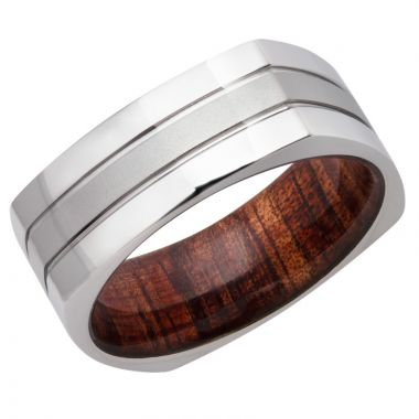 Lashbrook White Cobalt Chrome Hardwood 8mm Men's Wedding Band