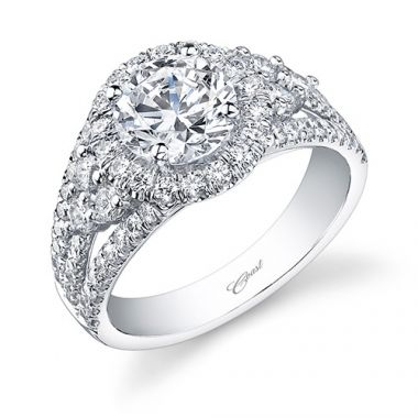 14k White Gold Coast Diamond 0.98ct Diamond Semi-Mount Fishtail Engagement Ring