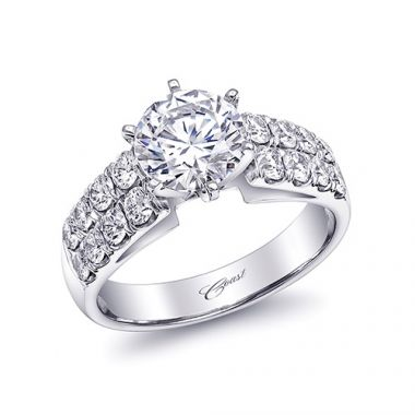 14k White Gold Coast Diamond 0.93ct Diamond Semi-Mount Fishtail Engagement Ring