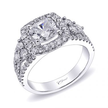 14k White Gold Coast Diamond 0.99ct Diamond Semi-Mount Fishtail Engagement Ring