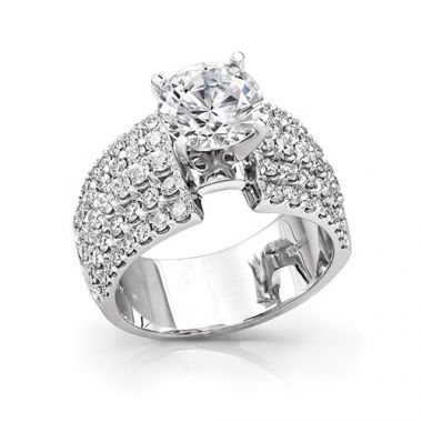 14k White Gold Coast Diamond 1.31ct Diamond Semi-Mount Fishtail Engagement Ring