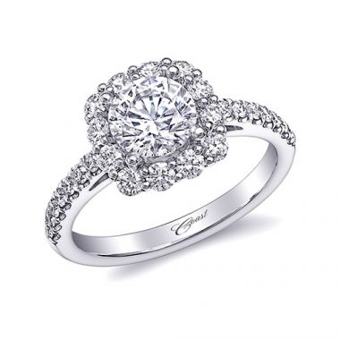 14k White Gold Coast Diamond 0.67ct Diamond Semi-Mount Fishtail Engagement Ring