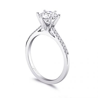 14k White Gold Coast Diamond 0.12ct Diamond Semi-Mount Fishtail Engagement Ring