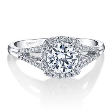 14k White Gold Coast Diamond 0.17ct Diamond Semi-Mount Fishtail Engagement Ring