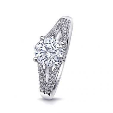 14k White Gold Coast Diamond 0.21ct Diamond Semi-Mount Fishtail Engagement Ring
