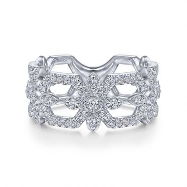 Gabriel & Co. 14k White Gold Art Moderne Diamond Ring