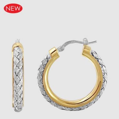 Charles Garnier Sterling Silver & 18k Gold Hoop Earrings