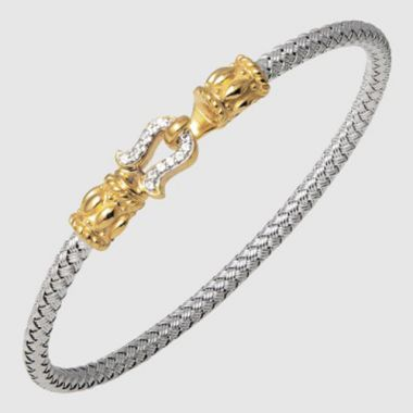 Charles Garnier Sterling Silver, 18k Yellow Gold & Rhodium Sapphire Bangle Bracelet