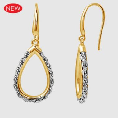 Charles Garnier Sterling Silver & 18k Gold Drop Earrings