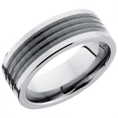 Lashbrook Black & White Tungsten Men's Wedding Band