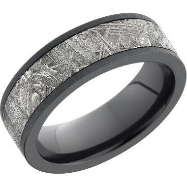 Lashbrook Black Zirconium Meteorite 7mm Men's Wedding Band