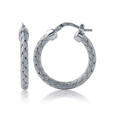 Charles Garnier Sterling Silver with CZ Milan 25Mm Earrings
