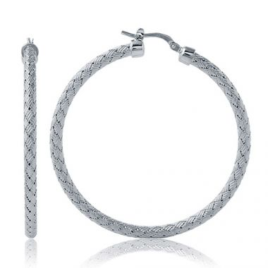 Charles Garnier Sterling Silver with CZ Milan 45Mm Earrings