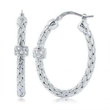 Charles Garnier Sterling Silver with CZ Torino Ov Earrings